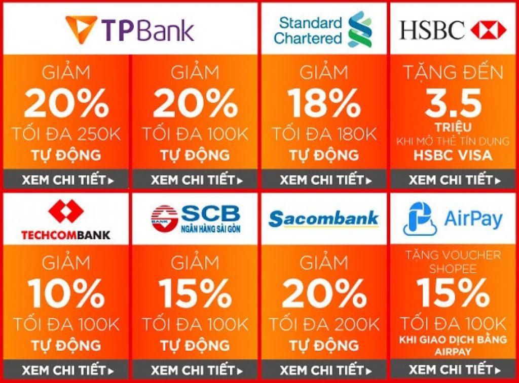 Mã giảm giá Shopee dành cho chủ thẻ Ngân hàng