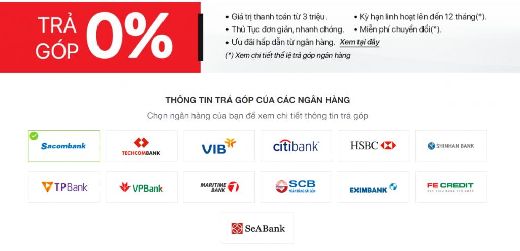 Chương trình trả góp 0% tại Nguyễn Kim