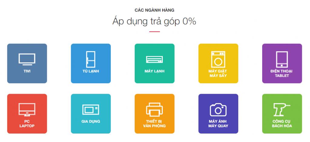 Các ngành hàng áp dụng trả góp 0% tại Nguyễn Kim