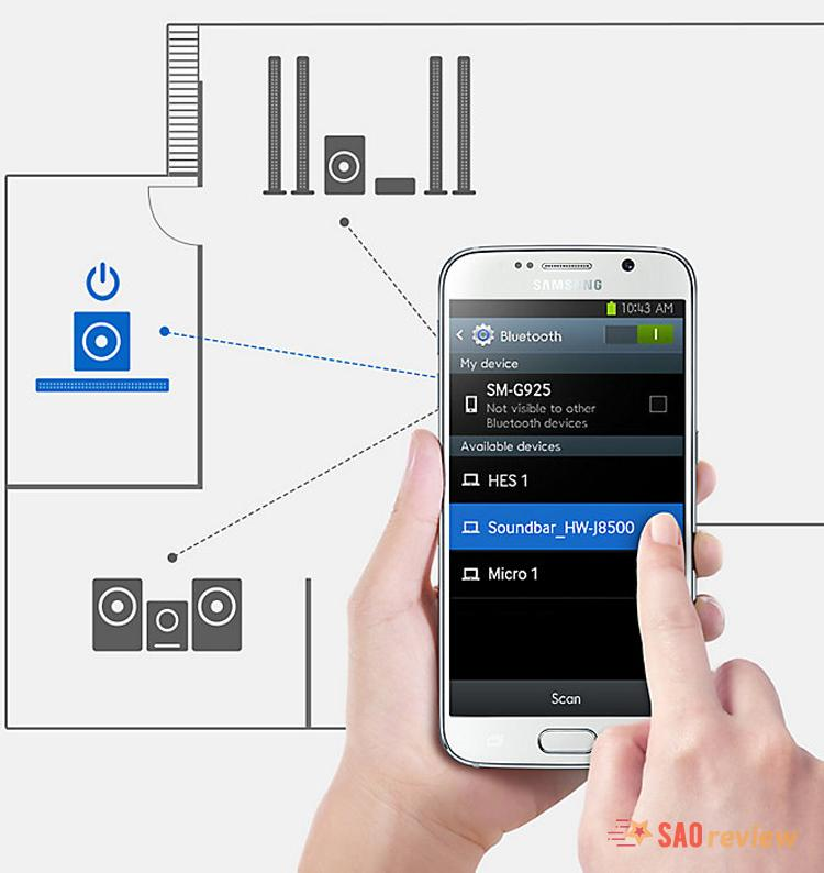 Samsung HW-K350 có kết nối bluetooth mạnh mẽ