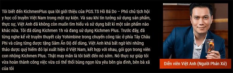 Review Kichmen Plus từ Diễn viên Việt Anh